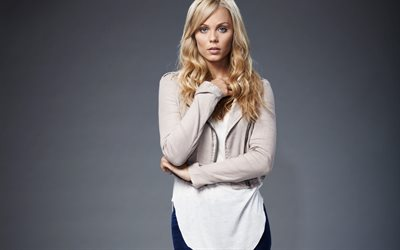 Laura Vandervoort, portrait, Canadian actress, beautiful woman, blondes, beige short jacket, photoshoot
