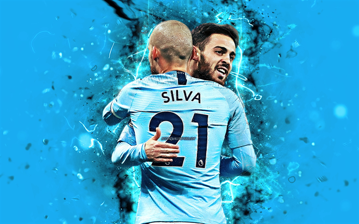 Download Wallpapers David Silva, Bernardo Silva, Goal