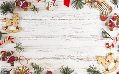Christmas frame, wooden white background, Happy New Year, wooden texture, christmas decoration