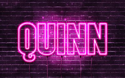 Quinn, 4k, wallpapers with names, female names, Quinn name, purple neon lights, horizontal text, picture with Quinn name