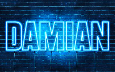 Damian, 4k, wallpapers with names, horizontal text, Damian name, blue neon lights, picture with Damian name