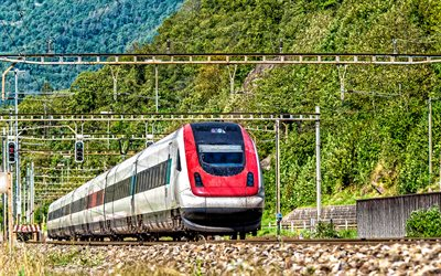 train, Mountain landscape, power lines, passenger transportation, railway, train concepts