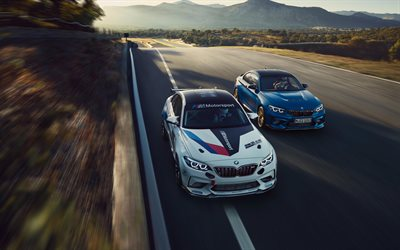 BMW M2 CS Racing, 2019, sports coupe, white M2, blue M2, tuning M2, German cars, BMW