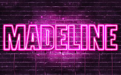 Madeline, 4k, wallpapers with names, female names, Madeline name, purple neon lights, horizontal text, picture with Madeline name