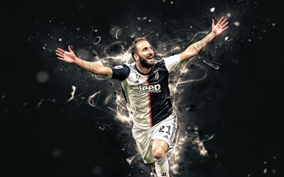 Gonzalo Higuain, goal, Juventus FC, football stars, argentinian footballers, joy, Gonzalo Gerardo Higuain, soccer, Bianconeri, neon lights, Serie A, Italy, Juve