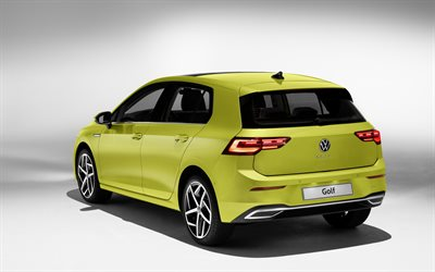 2020, Volkswagen Golf, rear view, exterior, yellow hatchback, new yellow Golf, German cars, Volkswagen