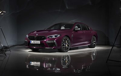 2020, BMW M8 Gran Coupe, exterior, front view, purple coupe, new purple M8 Gran Coupe, German cars, BMW