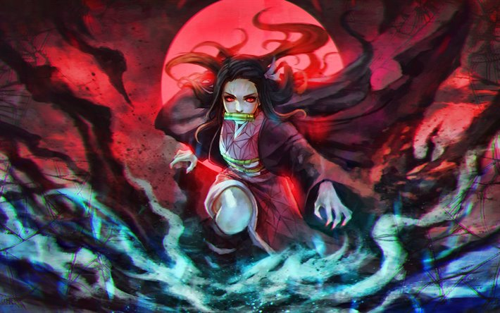 Download Wallpapers Nezuko Kamado 4k Moon Demon Slayer Kimetsu No Yaiba Manga Red Eyes Kamado Nezuko Artwork Agatsuma Zenitsu For Desktop Free Pictures For Desktop Free