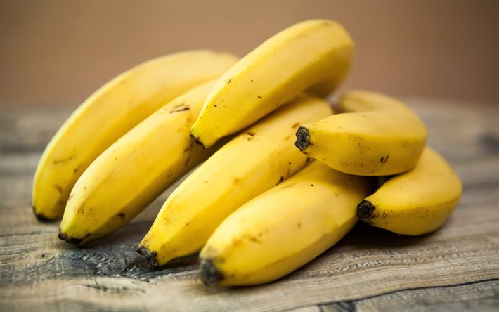 bananas, 4k, tropic fruits, close-up, bunch of bananas, fruits, ripe bananas