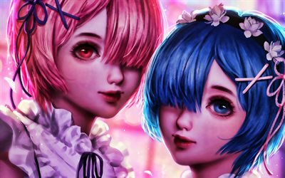 Ram and Rem, 3D art, manga, Re Zero, protagonists, Re Zero characters, Ram, Rem