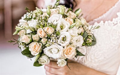 wedding bouquet, bride, wedding concepts, white roses, wedding ring, rose bouquet