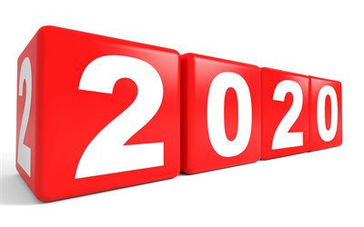 Happy New Year 2020, red 3d cubes, 4k, 2020 New Year, 2020 concepts, White background, 2020 3d background