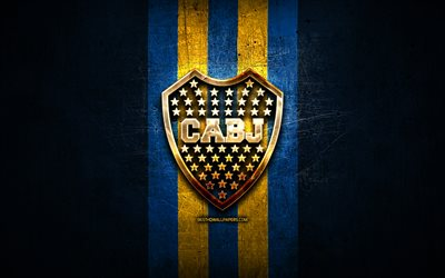 Boca Juniors FC, golden logo, Argentine Primera Division, blue metal background, football, CA Boca Juniors, argentinian football club, Boca Juniors logo, soccer, Argentina, Club Atletico Boca Juniors