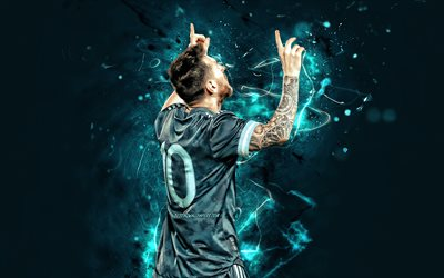 Lionel Messi, Argentina national football team, 2019, back view, football stars, goal, Leo Messi, soccer, Messi, Argentine National Team, gray uniform, footballers