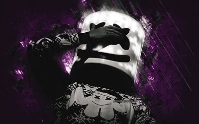 Marshmello, portrait, american dj, purple stone background, Christopher Comstock, Marshmello helmet