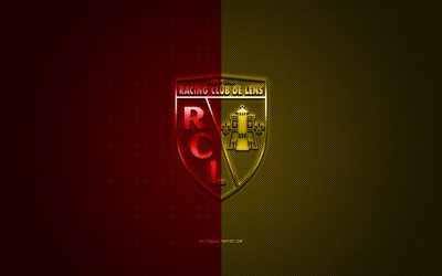 RC Lens, French football club, Ligue 2, red yellow logo, red yellow carbon fiber background, football, Lens, France, RC Lens logo