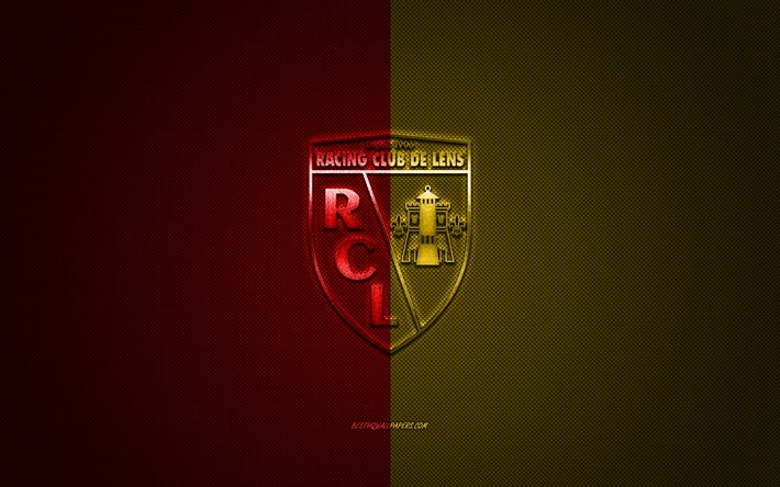 Download Wallpapers Rc Lens French Football Club Ligue 2 Red Yellow Logo Red Yellow Carbon Fiber Background Football Lens France Rc Lens Logo For Desktop Free Pictures For Desktop Free