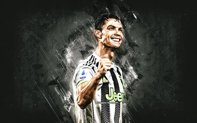 Cristiano Ronaldo, CR7, portrait, Juventus FC, white stone background, Serie A, Italy, football
