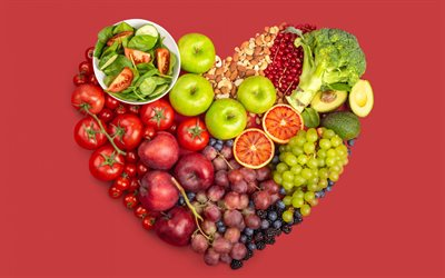 Healthy food, heart of fruits and vegetables, good nutrition, diet, slimming, weight loss