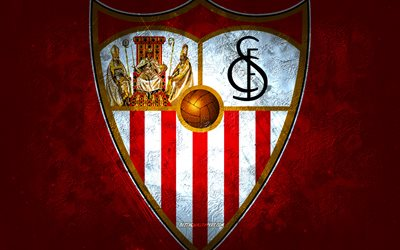 Sevilla FC, Spanish football club, red stone background, Sevilla FC logo, grunge art, La Liga, football, Spain, Sevilla FC emblem