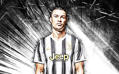 4k, Cristiano Ronaldo, white abstract rays, Juventus FC, CR7, portuguese footballers, Bianconeri, close-up, soccer, football stars, Serie A, CR7 Juve
