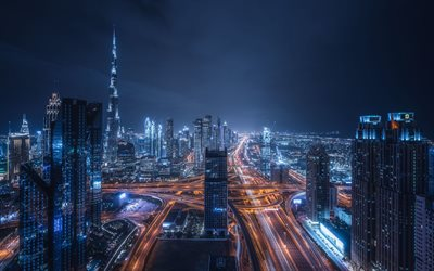 Dubai, 4k, road junctions, Burj Khalifa, nightscapes, modern buildings, skyscrapers, United Arab Emirates, cityscapes, Dubai at night, UAE