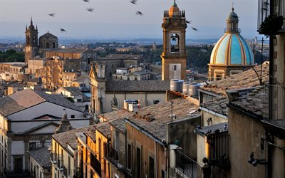 Caltagirone, Sicily, evening, sunset, panorama, Caltagirone cityscape, Italy