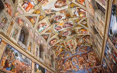 Sistine Chapel, Apostolic Palace, frescoes, paintings on walls, Michelangelo, Roman Catholic, Vatican City