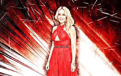 4k, Kylie Minogue, grunge art, australian singer, music stars, australian celebrity, Kylie Ann Minogue, superstars, red abstract rays, Kylie Minogue 4K