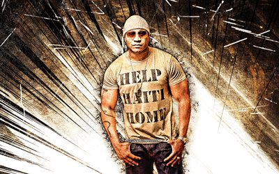 4k, LL Cool J, grunge art, american rapper, music stars, James Todd Smith, brown abstract rays, american celebrity, LL Cool J 4K