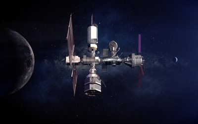 space station, open space, earth, moon, earth satellite, solar system