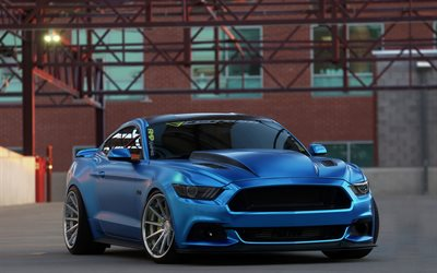 Download wallpapers Ford Mustang, 2017, tuning, blue