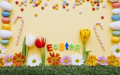 Easter, decoration, April 1, 2018, spring holiday, tulips, Easter eggs