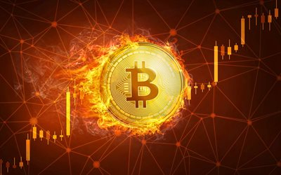 Bitcoin in fire, 4k, currency concept, diagram, electronic money, coins, crypto currency, creative, Bitcoin