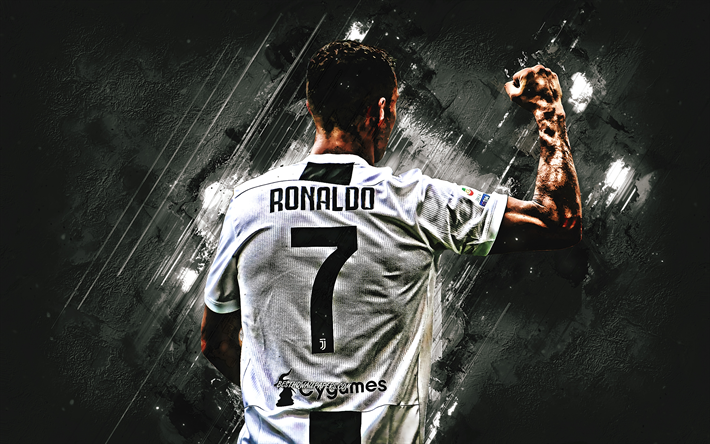 Download Wallpapers Cristiano Ronaldo Back View Goal Juventus Fc Grunge Italy Cr7 Juve Bianconeri Football Stars Portuguese Footballers Black Stone Soccer Serie A Ronaldo Cr7 For Desktop Free Pictures For Desktop Free