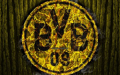 Borussia Dortmund FC, scorched logo, Bundesliga, yellow wooden background, german football club, S04, grunge, BVB, football, soccer, Borussia Dortmund logo, fire texture, Germany