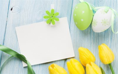 Easter, yellow tulips, spring, easter eggs