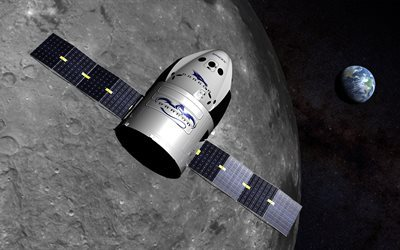 Private transport spacecraft, SpaceX Dragon, Earth, moon, outer space
