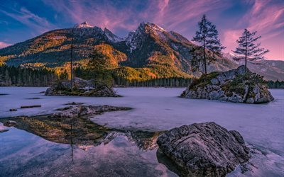 Alps, spring, lake, mountains, sunset, Germany