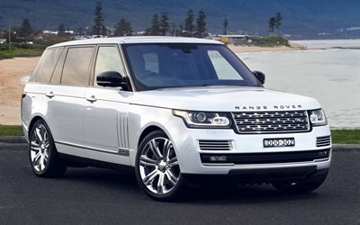 Land Rover, Range Rover Vogue, luxury SUV, white Range Rover