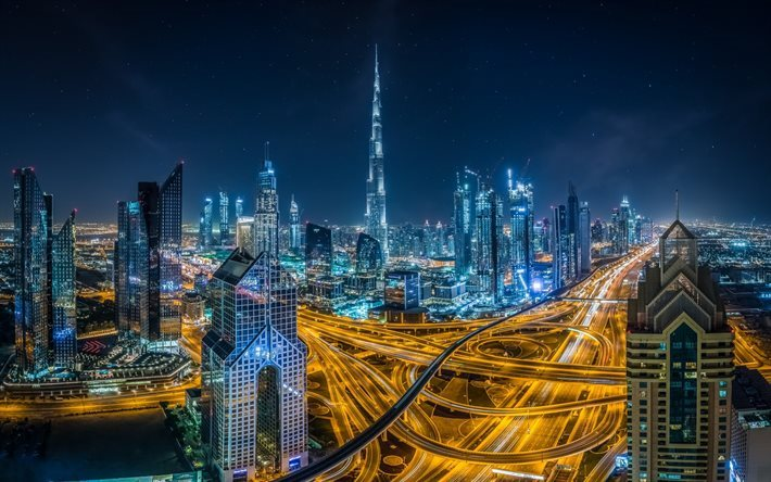 Download Wallpapers Dubai, United Arab Emirates, Night