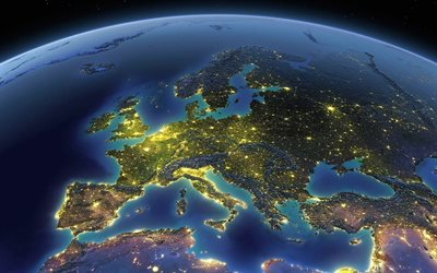 Europe, Eurasia, continent, view from space, Earth, planet, Europe from space