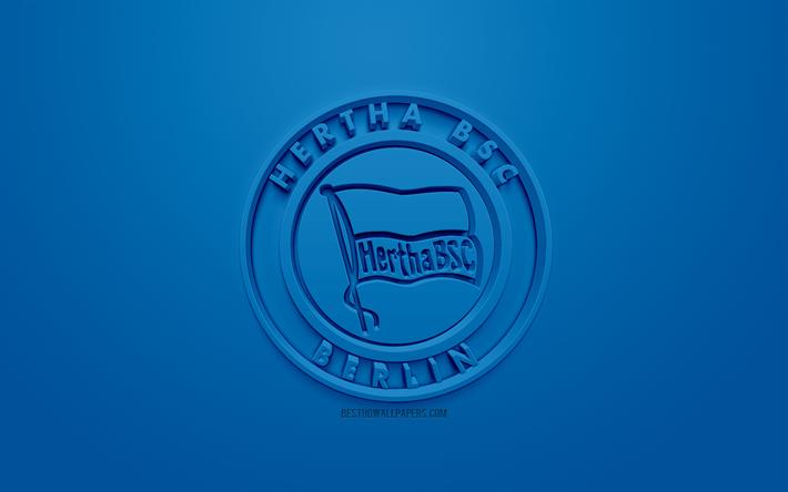 Indir Duvar Kağıdı Hertha Bsc Yaratıcı 3d Logosu Mavi Arka Plan