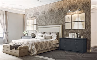 luxurious gray bedroom interior, floral patterns on the wall, gray walls, modern interior design, bedroom, classic style, stylish interior