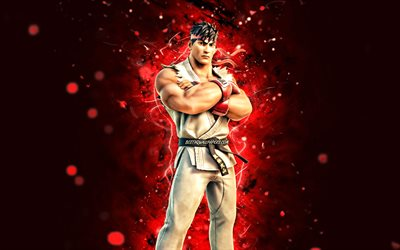 Ryu, 4k, red neon lights, Fortnite Battle Royale, Fortnite characters, Ryu Skin, Fortnite, Ryu Fortnite