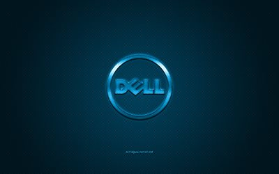 Dell round logo, blue carbon background, Dell blue metal logo, Dell blue emblem, Dell, blue carbon texture, Dell logo