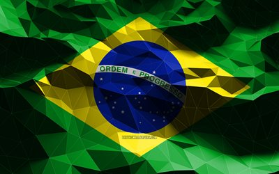 4k, Braziliam flag, low poly art, North American countries, national symbols, Flag of Brazil, 3D flags, Brazil flag, Brazil, North America, Brazil 3D flag