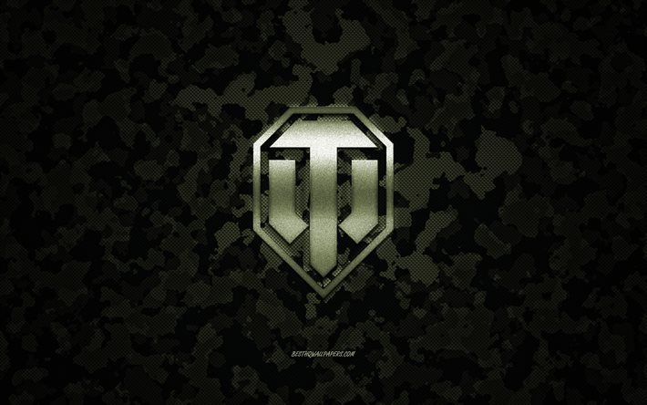 World of Tanks logo, camouflage carbon texture, WoT, World of Tanks emblem, green camouflage background, WoT logo, World of Tanks