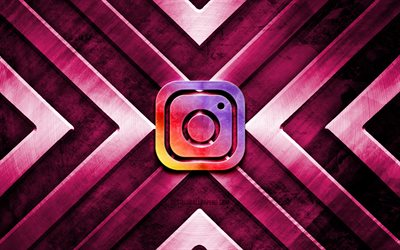 Instagram metal logo, 4K, purple metal background, social networks, metal arrows, Instagram logo, creative, Instagram