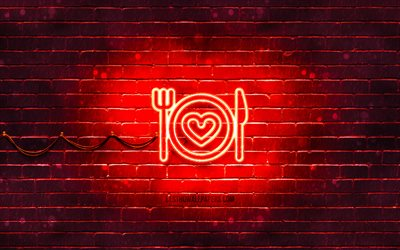 Love Food neon icon, 4k, red background, neon symbols, Love Food, creative, neon icons, Love Food sign, food signs, Love Food icon, food icons